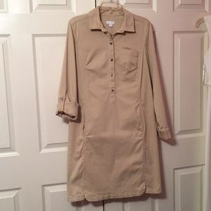 J.Jill live-in-chino Khaki Chino Shirt Dress 8